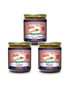 European Almond Cashew Walnut Butter Bundle 16 oz, Sprouted, Organic  (Enjoy Great Savings!)